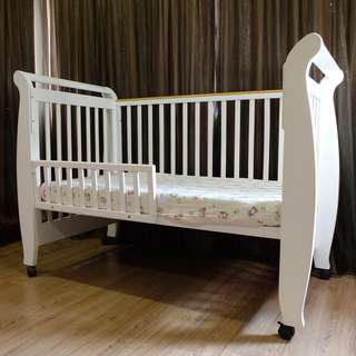Used Costa Baby Cot - White Light Walnut 0 to 6 years Old