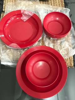 Tupperware cherry red plate & bowl