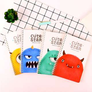 Cute Star Fuzzy Monster Spiral Ruled Notebook A5