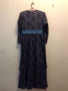Blue Black Cotton Dress