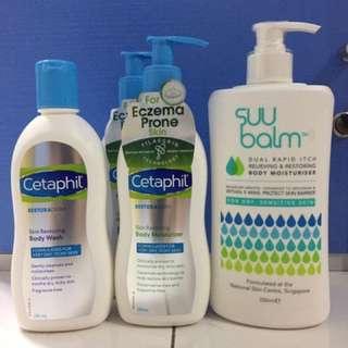 Cetephil Body Wash, Moisturizer, Suu Balm