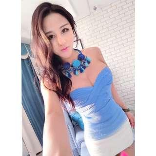 🚚 神美水藍色繃帶洋裝