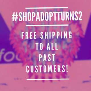 Free Shipping for ShopAdopt's Anniversary!