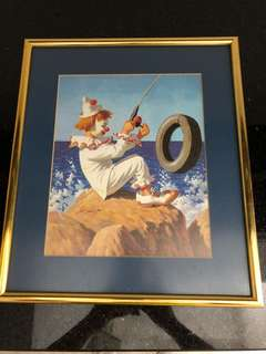 Brand New Wall Poster of a clown with gold frame