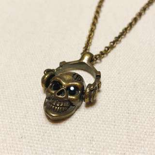 Copper Headphone Skull Necklace