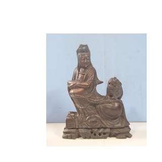 Antique Shoushan Stone hand carved Kwan Yin Foo Dog circa 1920 to 1940 unused