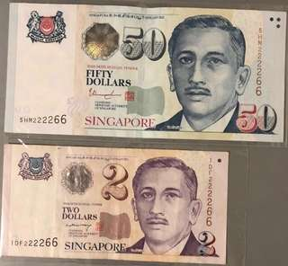 Singapore Bank Notes Identical Numbers
