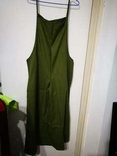 棉麻大碼闊腿背帶褲 ,預訂, 顏色:綠,黑,深藍 ,  材質:棉麻