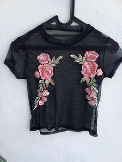 Embroidery crop tile fisnet sheer mesh