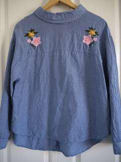 Blue stripe shirt with embroidery detail