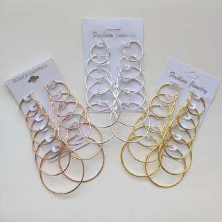 SET OF 6 HOOP EARRINGS