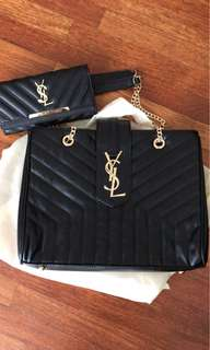 "YSL large loulou shopping bag in ""Y"" quilted black with long purse (grade:3A)"
