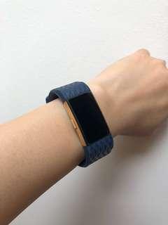 Fitbit Charge 2 Dark Blue Diamond Design Silicone Straps in 'S'