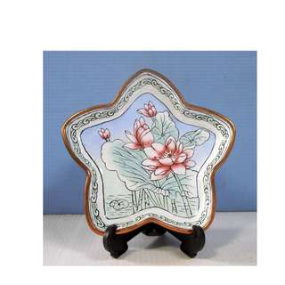 Antique Chinese Famille Rose Canton Plate Enamelled Porcelain on Brass c. 1920