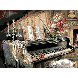 (ONHAND) Paint by Numbers kit (Design Name: Antique Piano)