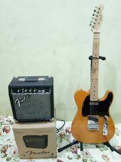 Set gitar dan amp (amp Fender dan guitar Squier) (comes with gig bag, strap & cable)