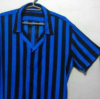 Brand new Men's Blue Black Striped Buttondown Polo