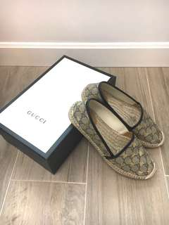 Gucci logo Bee Canvas Espadrilles 草鞋