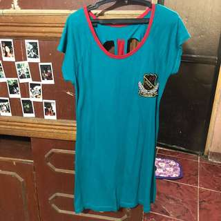 Blue Green Dress with Cut-outs at the Back
