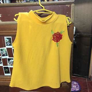 Mustard Turtle Neck Top w/ Rose Patch