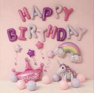 Happy Birthday Decoration set - unicorn 🦄 (pink)