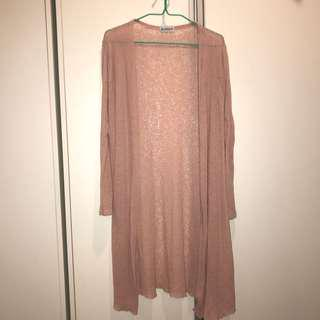 nude pink knitted cardigan