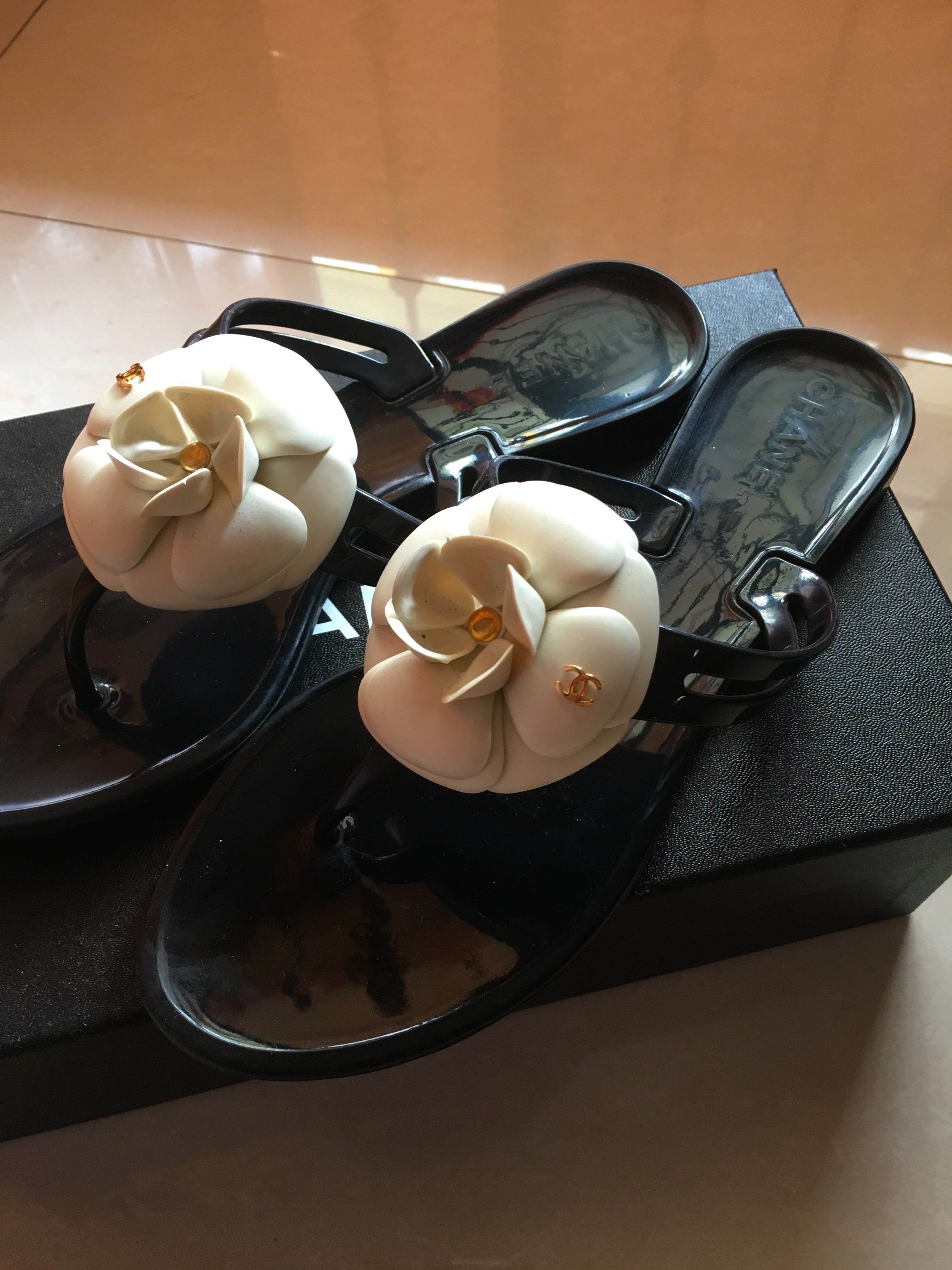 100 Authentic Chanel Camelia Slippers Luxury Shoes On Carousell Inside Flats Kamelia Beige 39 Photo