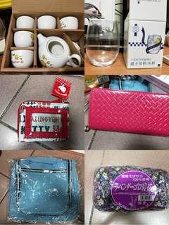 全部一起賣~~茶具組,薰衣草午安枕,玻璃杯,皮夾,hello kitty零錢包,旅行盥洗包