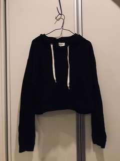 basic black cropped hoodie