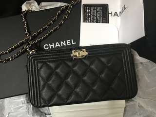 罕有❤️ Chanel Boy 黑色金扣 wallet on chain