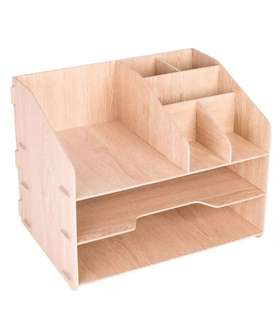 Wooden Pen Organizer Shelf Box Holder