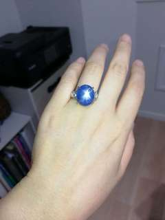Natural star sapphire with diamond , ring size 16, can adjust