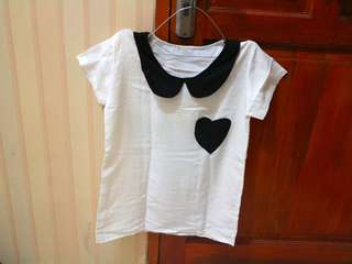 white heart collar top