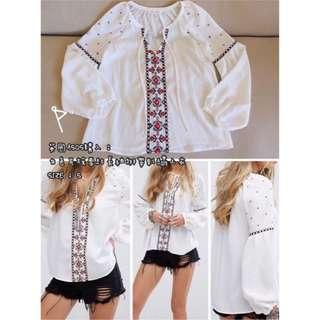 英國ASOS購入:HONEY PUNCH 白色雕花刺繡雪紡綁帶長袖上衣襯衫//森林/古著/民族