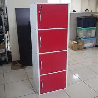 4 layers utility cabinet red and white