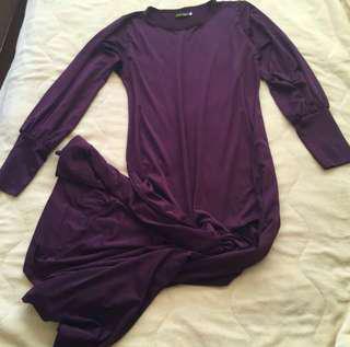jersey jubah abaya dress in dark purple