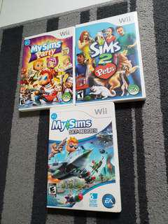 Preloved Wii Games / my Sims Party/ my Sims Sky Heroes/ Sims 2 Pets