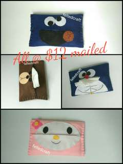 Cookie monster/Doraemon/Melody/Brown tissue pouch