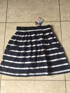 Navy stripe Mini skirt cotton on