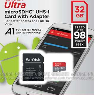 SanDisk Ultra micro SD SDHC 32GB 98MB/S 高速記憶卡 附轉接卡