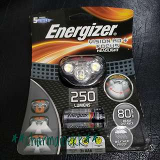 Energizer 勁量 Headlight 頭燈 5 LEDs / 250 Lumens 流明 / 防水 water proof / 照射距離達80米 80meters beam distance