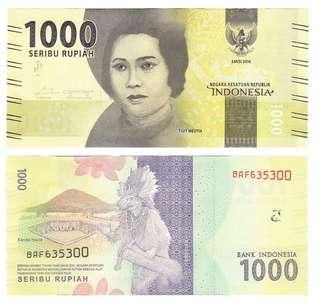 🚚 1000 PCS BANK INDONESIA 1000 Rupiah 2016-2018 Brick Bundle Stack Original Bank Sealed UNC