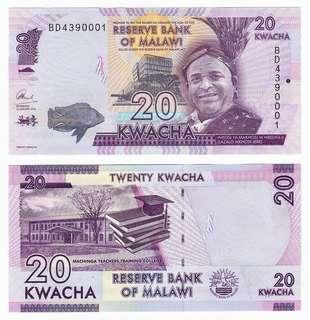 1000 PCS RESERVE BANK OF MALAWI 20 Kwacha 2016 UNC Bank Sealed Brick Bundle Stack Original UNC