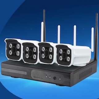 Wireless CCTV System with Wireless 4 Channel NVR + 1TB HDD - view live on mobile device and on the go