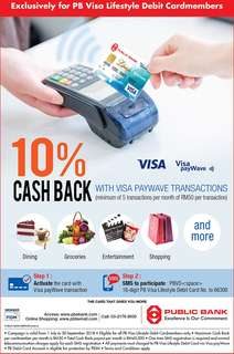 Cash Back on PB Visa Lifestyle Debit Card