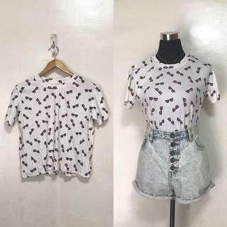 Loose White Printed Hanging Top Shirt