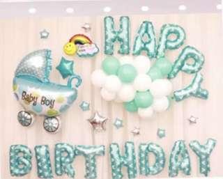 <in-stock>Happy Birthday balloon party set - baby boy full moon/ newborn