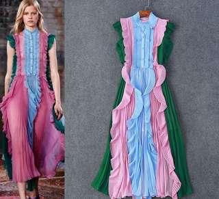 Designer Gucci Maxi Chiffon Ruffle Dress