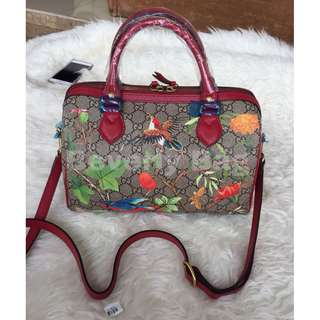 jual tas Gucci Speedy Flower LEATHER MIRROR - red