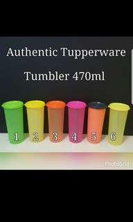 Authentic Tupperware Tumbler 470ml 8.1cm(D) x 16.9cm(H)  《Retail Price S$6.40/Piece》 Assorted